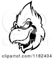 Clipart Of A Grayscale Cardinal Head 3 Royalty Free Vector Illustration
