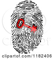 Clipart Of A Red Key Over A Fingerprint Royalty Free Vector Illustration