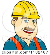 Cartoon Of A Happy Construction Worker Wearing A Hard Hat Royalty Free Vector Clipart by Vector Tradition SM