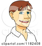 Cartoon Of A Happy Young Brunette Caucasian Man Royalty Free Vector Clipart
