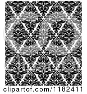 Clipart Of A Black And White Triangular Damask Pattern Seamless Background 32 Royalty Free Vector Illustration