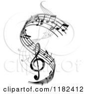 Clipart Of A Swirl Of Black And Gray Music Notes Royalty Free Vector Illustration