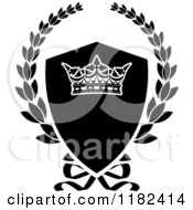 Clipart Of A Black And White Shield And Laurel Wreath With A Crown Royalty Free Vector Illustration