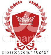 Clipart Of A Red Shield And Laurel Wreath With A Crown Royalty Free Vector Illustration
