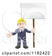 Cartoon Of A Happy Blond Businessman Holding A Sign Royalty Free Vector Clipart