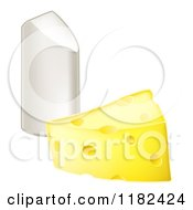 Clipart Of A Cheese Wedge And Piece Of Chalk Royalty Free Vector Illustration by AtStockIllustration