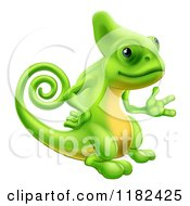 Cartoon Of A Green Chameleon Waving Or Presenting Royalty Free Vector Clipart by AtStockIllustration