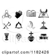 Clipart Of Black And White Christian Symbols 2 Royalty Free Vector Illustration