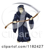 Clipart Of A Grim Reaper Holding A Sharp Scythe Royalty Free Vector Illustration by AtStockIllustration