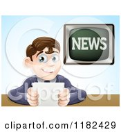 Cartoon Of A Happy Male News Anchor Smiling And Holding Notes Royalty Free Vector Clipart by AtStockIllustration