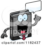 Cartoon Of A Talking Business Book Mascot Royalty Free Vector Clipart