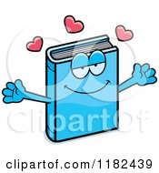 Cartoon Of A Loving Blue Book Mascot Royalty Free Vector Clipart