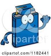 Cartoon Of A Waving Blue Teacher Book Mascot Royalty Free Vector Clipart