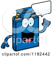 Cartoon Of A Talking Blue Teacher Book Mascot Royalty Free Vector Clipart
