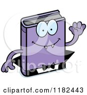 Cartoon Of A Waving Horror Vampire Book Mascot Royalty Free Vector Clipart