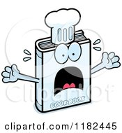 Cartoon Of A Scared Cook Book Mascot Royalty Free Vector Clipart