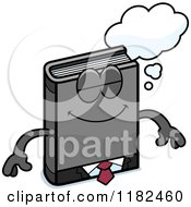 Cartoon Of A Dreaming Business Book Mascot Royalty Free Vector Clipart