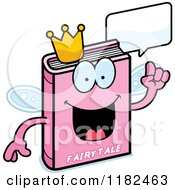 Cartoon Of A Talking Pink Fairy Tale Book Mascot Royalty Free Vector Clipart