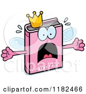 Cartoon Of A Scared Pink Fairy Tale Book Mascot Royalty Free Vector Clipart