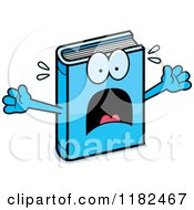 Cartoon Of A Scared Blue Book Mascot Royalty Free Vector Clipart