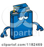 Cartoon Of A Depressed Blue Teacher Book Mascot Royalty Free Vector Clipart