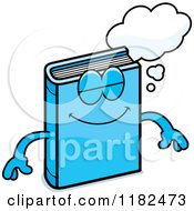 Cartoon Of A Dreaming Blue Book Mascot Royalty Free Vector Clipart
