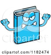 Cartoon Of A Mad Blue Book Mascot Royalty Free Vector Clipart