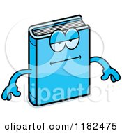 Cartoon Of A Bored Blue Book Mascot Royalty Free Vector Clipart
