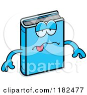Cartoon Of A Sick Blue Book Mascot Royalty Free Vector Clipart