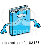 Cartoon Of A Depressed Blue Book Mascot Royalty Free Vector Clipart
