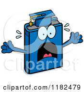 Cartoon Of A Scared Blue Teacher Book Mascot Royalty Free Vector Clipart