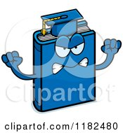 Cartoon Of A Mad Blue Teacher Book Mascot Royalty Free Vector Clipart