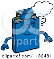 Cartoon Of A Dreaming Blue Teacher Book Mascot Royalty Free Vector Clipart