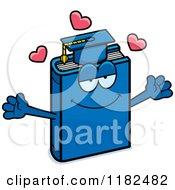 Cartoon Of A Loving Blue Teacher Book Mascot Royalty Free Vector Clipart