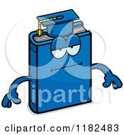 Cartoon Of A Bored Blue Teacher Book Mascot Royalty Free Vector Clipart