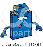 Cartoon Of A Sick Blue Teacher Book Mascot Royalty Free Vector Clipart