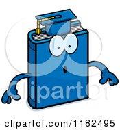 Cartoon Of A Surprised Blue Teacher Book Mascot Royalty Free Vector Clipart