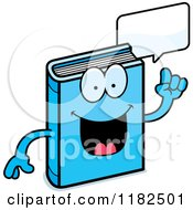 Cartoon Of A Talking Blue Book Mascot Royalty Free Vector Clipart