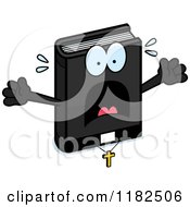 Cartoon Of A Scared Bible Mascot Royalty Free Vector Clipart