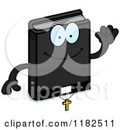 Cartoon Of A Waving Bible Mascot Royalty Free Vector Clipart