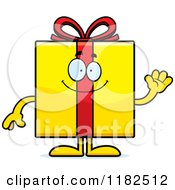 Cartoon Of A Waving Yellow Gift Box Mascot Royalty Free Vector Clipart