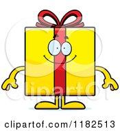 Cartoon Of A Happy Yellow Gift Box Mascot Royalty Free Vector Clipart by Cory Thoman