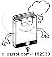 Cartoon Of A Black And White Dreaming Bible Mascot Royalty Free Vector Clipart