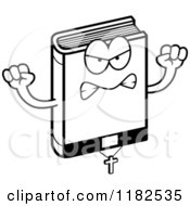 Cartoon Of A Black And White Mad Bible Mascot Royalty Free Vector Clipart