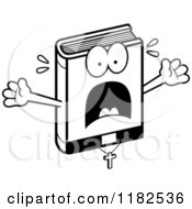 Cartoon Of A Black And White Scared Bible Mascot Royalty Free Vector Clipart