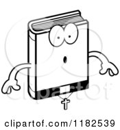 Cartoon Of A Black And White Surprised Bible Mascot Royalty Free Vector Clipart