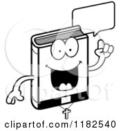 Cartoon Of A Black And White Talking Bible Mascot Royalty Free Vector Clipart
