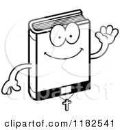 Cartoon Of A Black And White Waving Bible Mascot Royalty Free Vector Clipart
