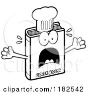 Black And White Scared Cook Book Mascot