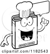 Cartoon Of A Black And White Talking Cook Book Mascot Royalty Free Vector Clipart